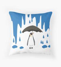 Linux Tux Umbrella Blue Throw Pillow