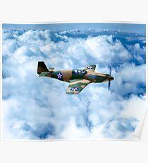 Vintage World War II Fighter Plane - P-51 Mustang Poster