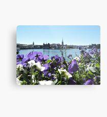 Stockholm Through The Flowers (Purple) Metal Print