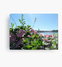 Stockholm Through The Flowers (Pink) Metal Print