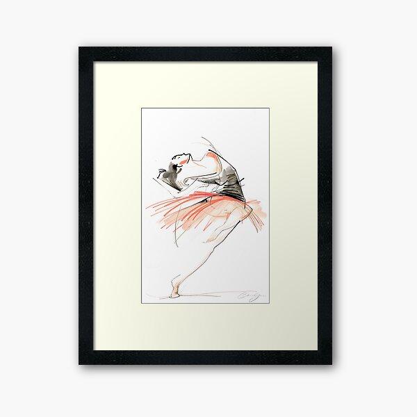 Expressive Dance Drawing Framed Art Print