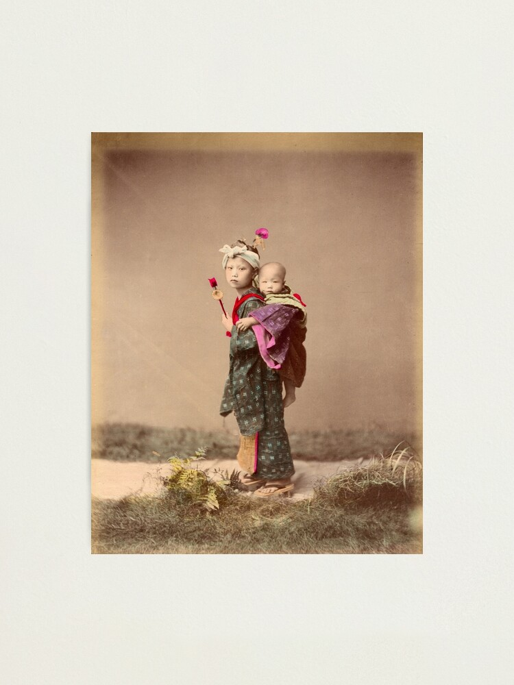Alternate view of Japanese child carrying baby Photographic Print