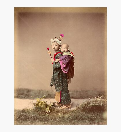 Japanese child carrying baby Photographic Print
