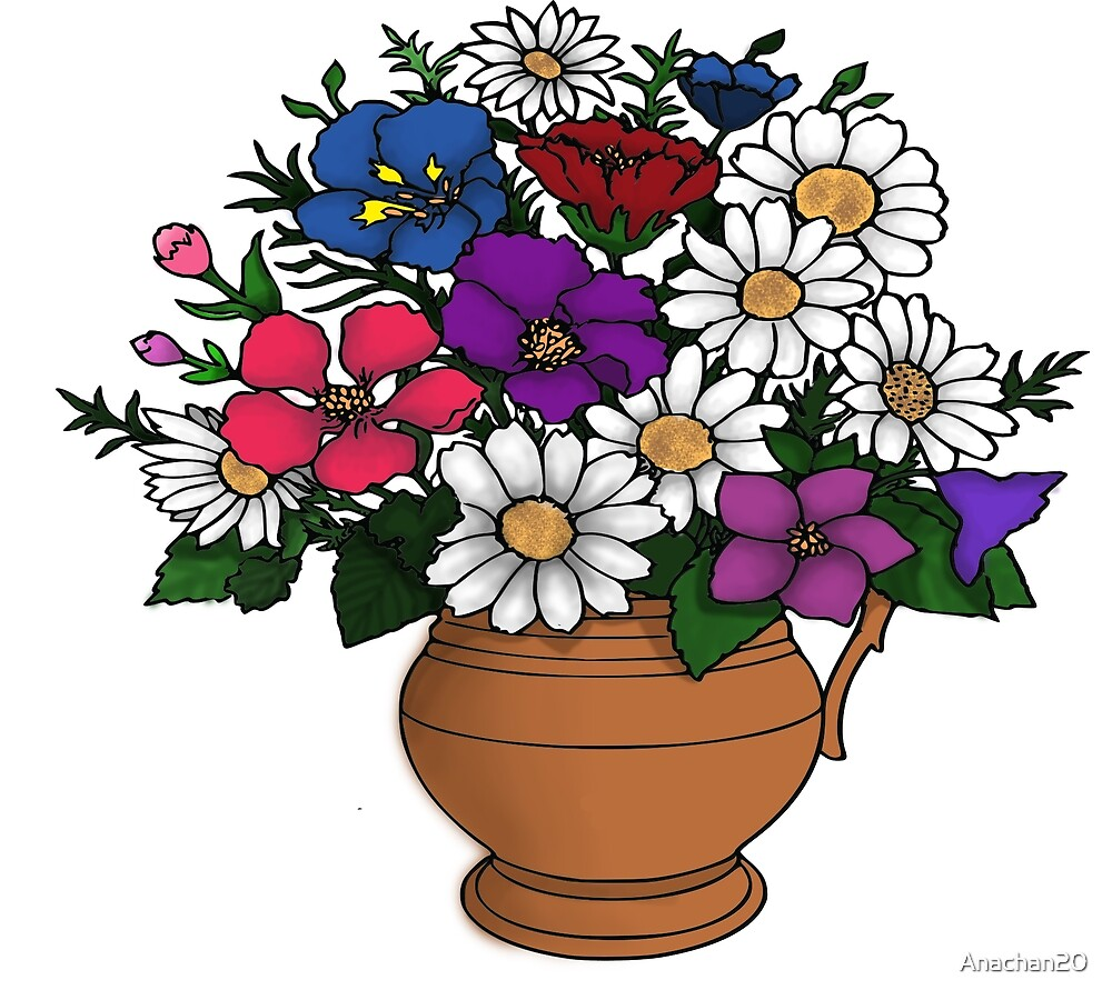 Cute Colorful Flower Vase Drawing Flowers By Anachan20 Redbubble