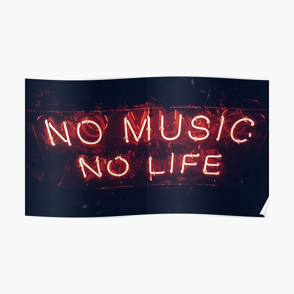 Music neon red writing Poster