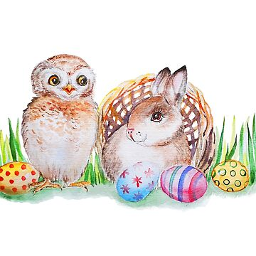 Easter Bunny and Owlet by Redilion