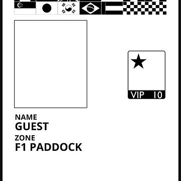 F1 Paddock Pass - Black & White by flatspotapparel