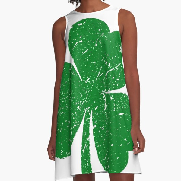 Distressed Green Shamrock St. Patrick's Day A-Line Dress