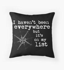 Cojín No he estado en todas partes pero está en mi lista - Susan Sontag - Letras blancas