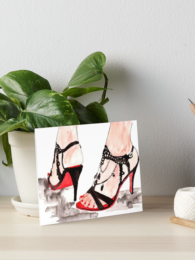 Print Watercolor Board Heels ShoesArt High ShoesFashion lF31JTKc