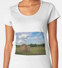 Hay bales under a sunny summer sky in late afternoon Women's Premium T-Shirt