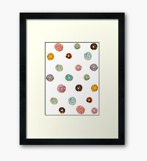 Donuts Pattern // Pink Blue Yellow Purple Palette Framed Print