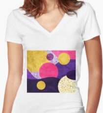 Terrazzo galaxy purple night yellow gold pink Women's Fitted V-Neck T-Shirt