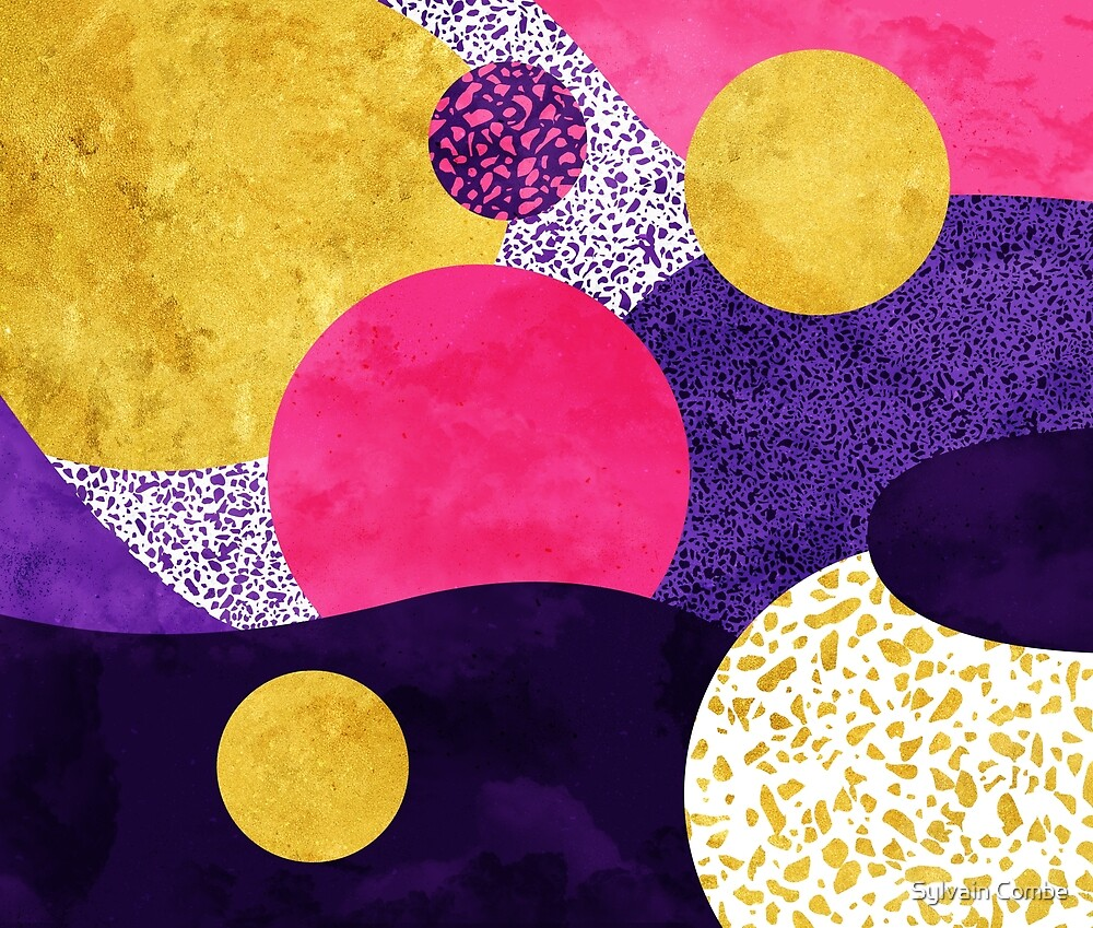 Terrazzo galaxy purple night yellow gold pink by Sylvain Combe