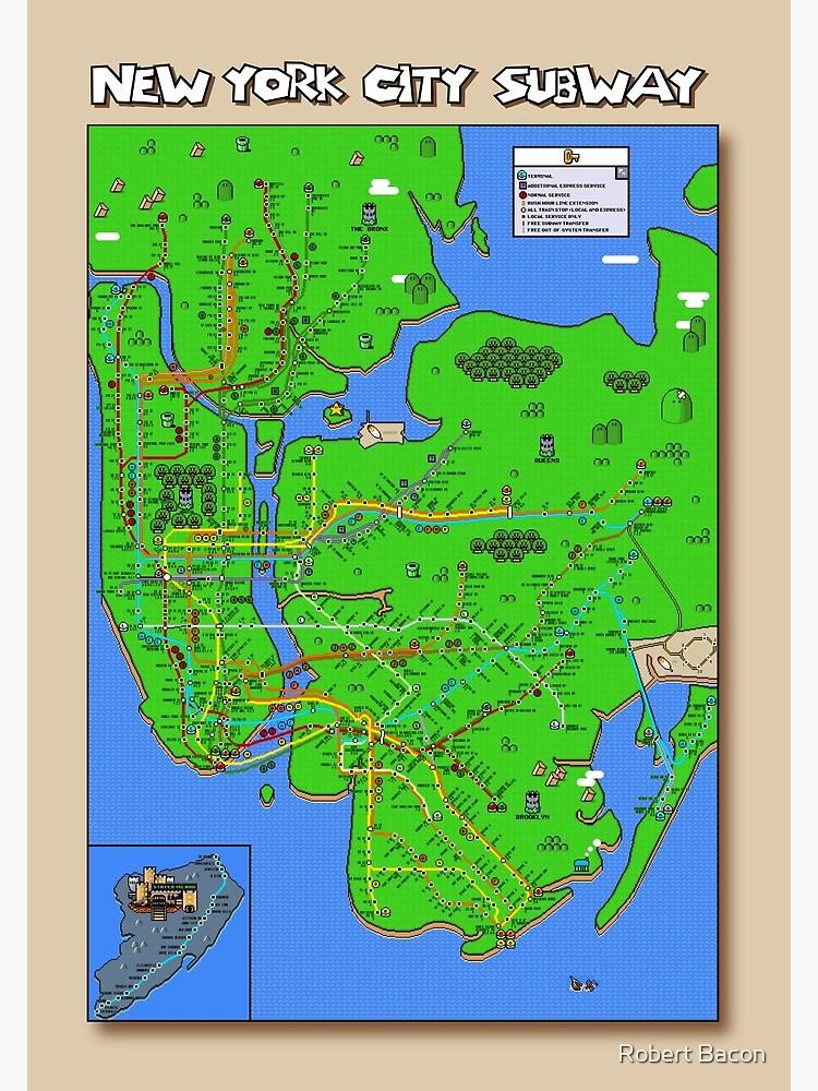 New York City Super Mario World Subway Map Poster By Mariomaps1