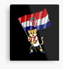 Croatia fan cat Metal Print