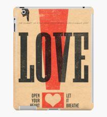 """LOVE!"" Vintage Letterpress Poster iPad Case/Skin"