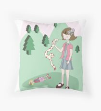 Girl with snake (version 2) Throw Pillow