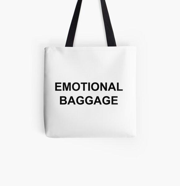Emotional Baggage Slogan : Black on White All Over Print Tote Bag