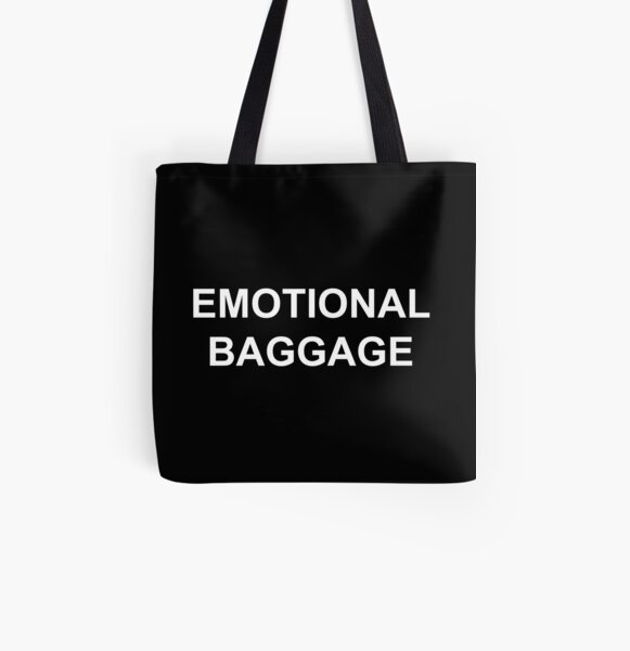 Emotional Baggage : White on Black All Over Print Tote Bag