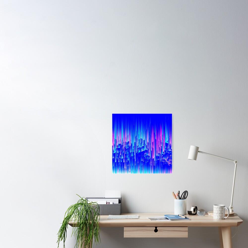 Neon Rain - Digital Abstract Poster