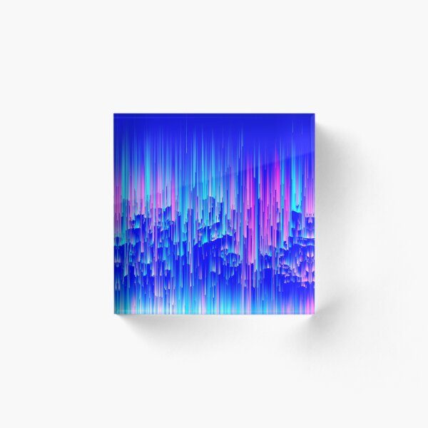 Neon Rain - Digital Abstract Acrylic Block