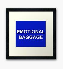 Emotional Baggage Slogan : White on Electric Blue Framed Print