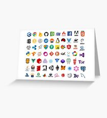 Developer icons, open source project logos, web companies Greeting Card