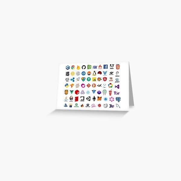 Icônes de développeur, logos de projets open source, sociétés web Carte de vœux
