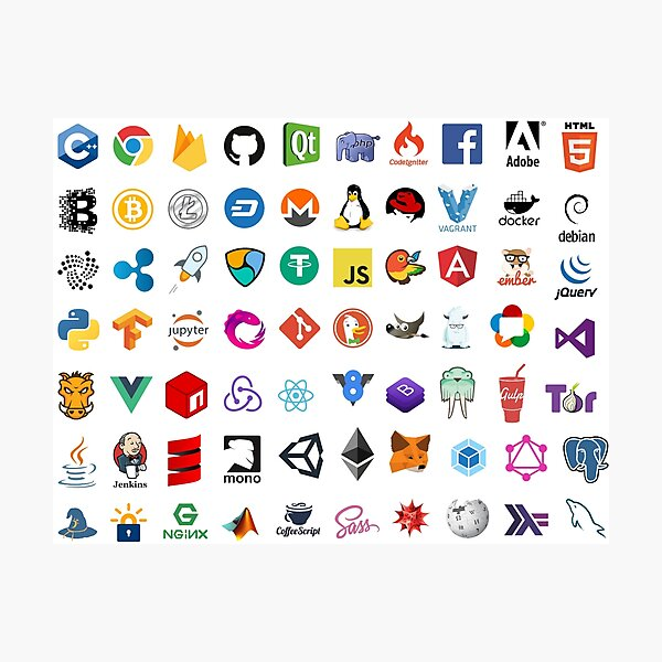 Developer icons, open source project logos, web companies Photographic Print