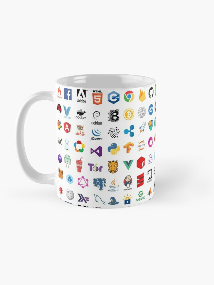 Alternate view of Developer icons, open source project logos, web companies Mug