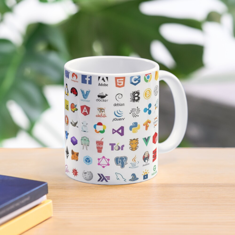 Developer icons, open source project logos, web companies Mug
