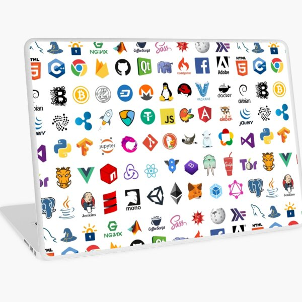 Developer icons, open source project logos, web companies Laptop Skin