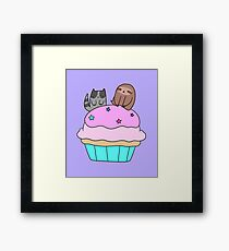 Cupcake Blue Tabby Cat and Sloth Framed Print