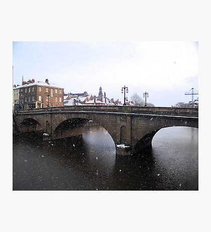 Ouse Bridge under a snow fall Photographic Print