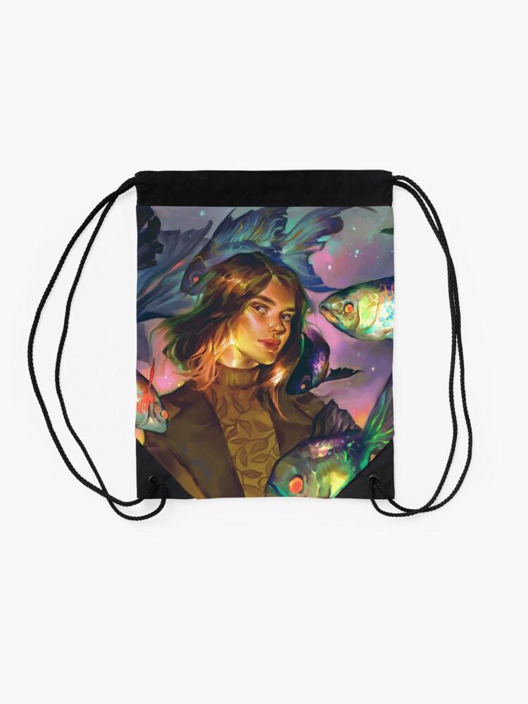 Alternate view of Swimming Colors Drawstring Bag