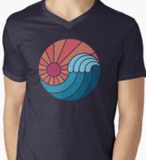 Camiseta de cuello en V Sol y mar
