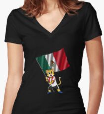 Mexico fan cat Women's Fitted V-Neck T-Shirt