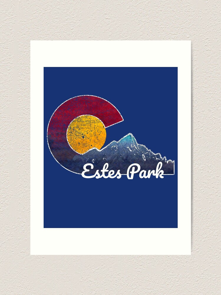 Estes Park Colorado Flag Inspired Mountain Scene Art Print By Jayinco Redbubble