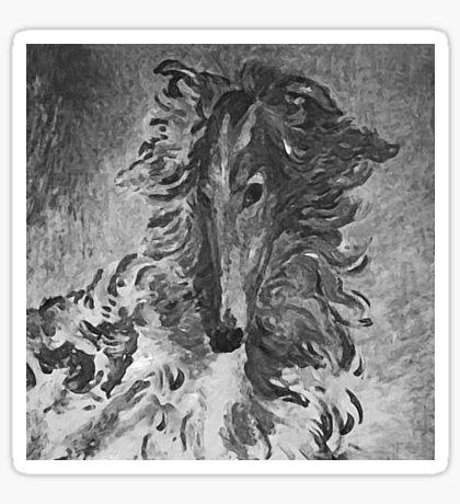 Charcoal Vintage Borzoi Sticker