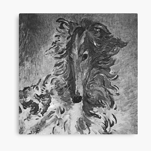 Charcoal Vintage Borzoi Canvas Print