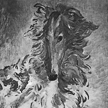 Charcoal Vintage Borzoi by tcarey