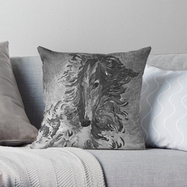 Charcoal Vintage Borzoi Throw Pillow