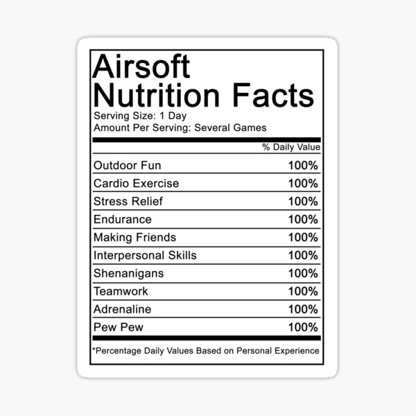 Airsoft Nutritional Facts Sticker