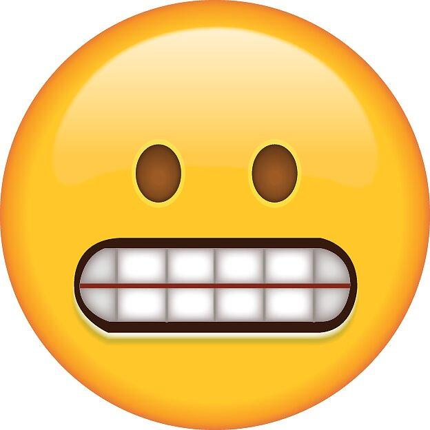 Awkward grinning face emoji sticker by bokrok