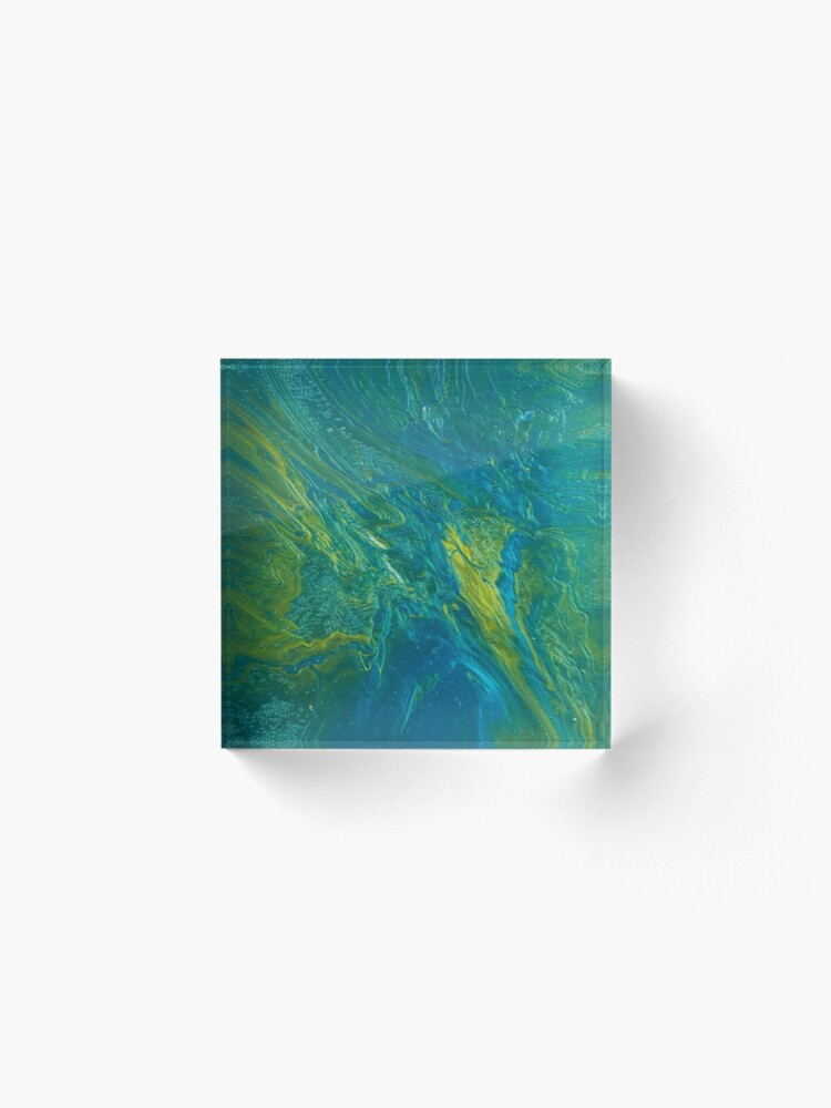Alternate view of Green & Teal Abstract Acrylic Block
