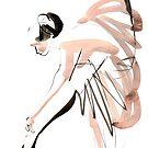 Expressive Watercolor Dance Drawing by CatarinaGarcia