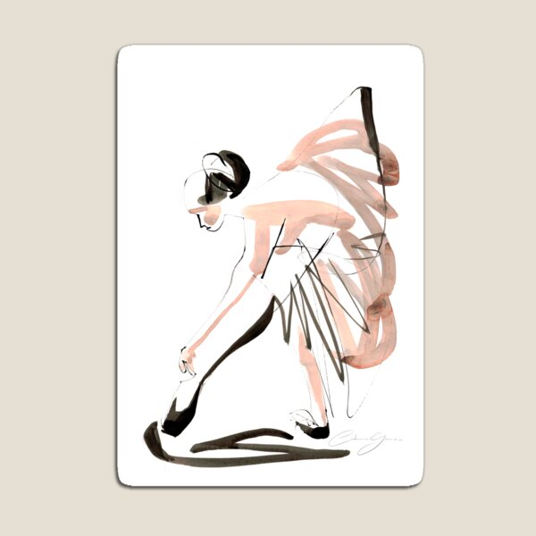 Expressive Watercolor Dance Drawing Magnet