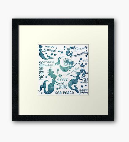 Dream Mermaids Pattern - weathered Framed Print