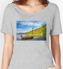 Small boat on the shore of Lake Wakatipu at Wilson Bay Women's Relaxed Fit T-Shirt